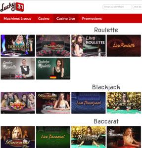 Avis Lucky31 Casino par baccara.Bet