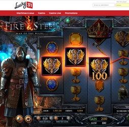 Machine à sous Fire and Steel de Betsoft sur Lucky31 casino