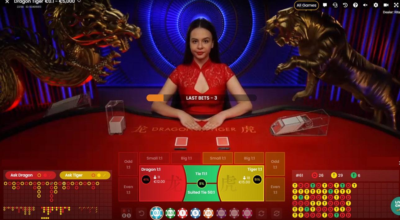Capture d'écran d'une croupière à la table de Dragon Tiger de Pragmatic Play Live Casino
