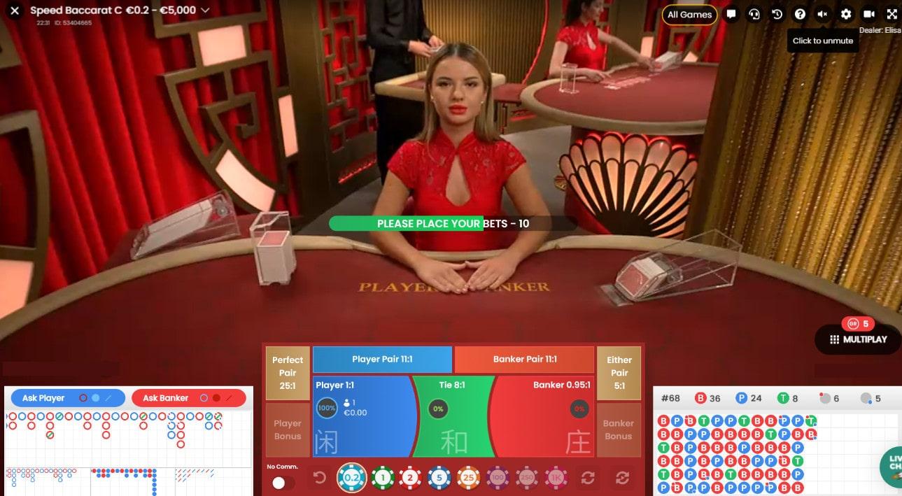 Croupier en direct a une des tables Speed Baccarat de Pragmatic Play Live Casino